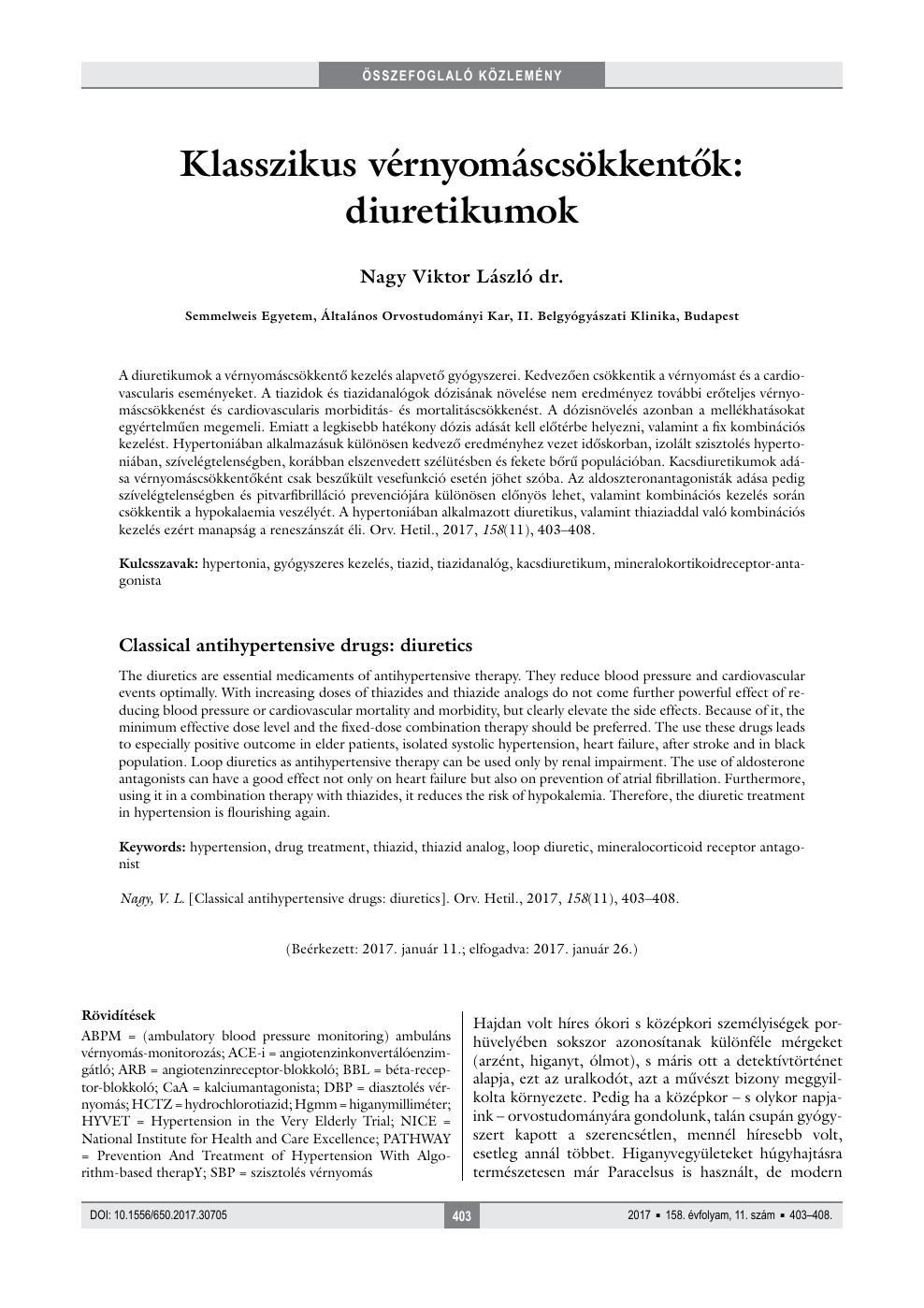 Diuretikumok a hypertonia kezelésében