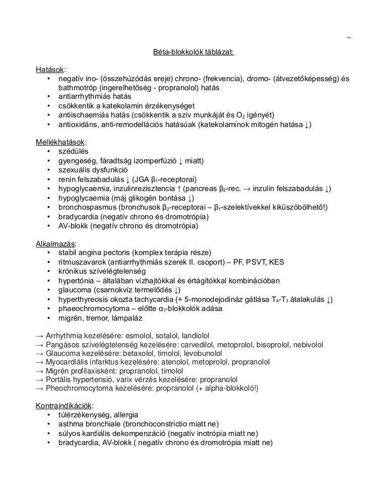 béta-blokkolók listája hipertónia esetén)